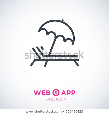 Sunbed and Umbrella Vector Icons Chaise-lounge Сток-фото © robuart