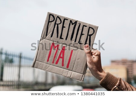 text may day in french in a cardboard signboard Stock photo © nito