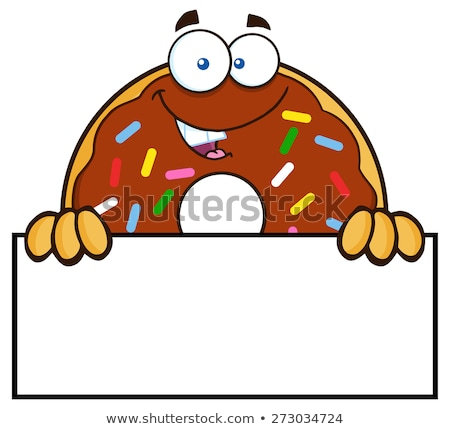 Chocolate Donut Cartoon Character With Sprinkles Over A Sign Stock photo © hittoon