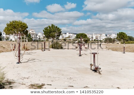 Outdoor fitness equipment on the sandy beach in public park for  Stock photo © amok