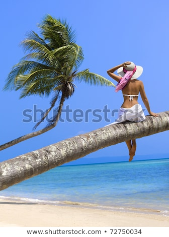 Young Woman Relaxing On Palm Tree At Beach Stock photo © AndreyPopov