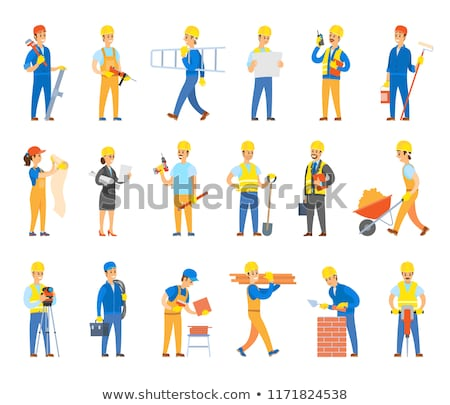 Workers Holding Drill and Instruments, Vector Stock photo © robuart