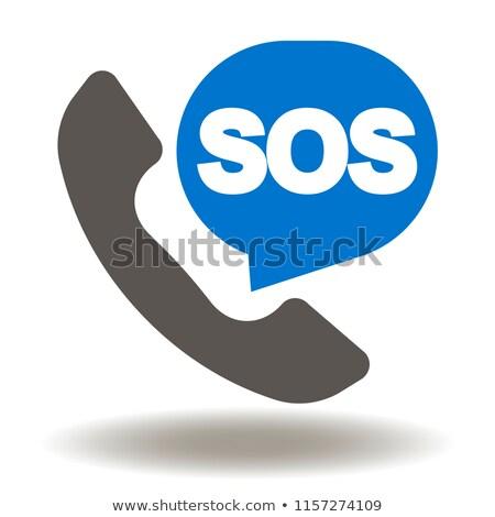 СОС текста 3d иллюстрации изолированный белый телефон Сток-фото © montego