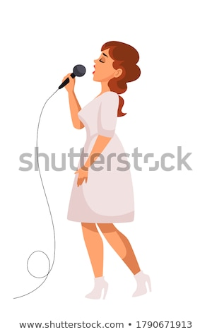 Woman Solo Concert, Side View of Artist Vector Stock photo © robuart