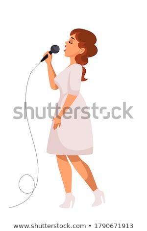 kadın · şarkı · söyleme · karaoke · karakter · şarkıcı · vektör - stok fotoğraf © robuart