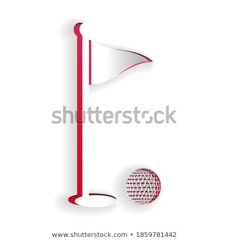 3d golf course with club, ball and red flag in hole isolated on white background, vector illustratio Stock photo © MarySan