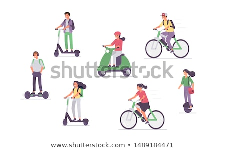 Human Driving Eco Scooter or Electric Bike Vector Stock photo © robuart