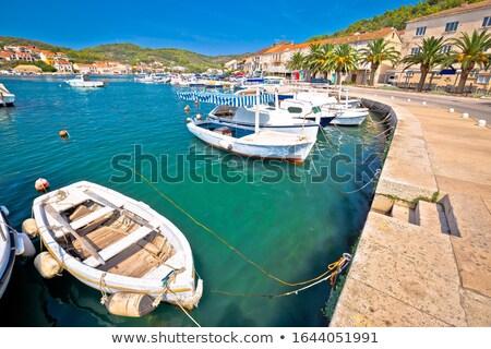 bay of vela luka on korcula island waterfront view stock photo © xbrchx
