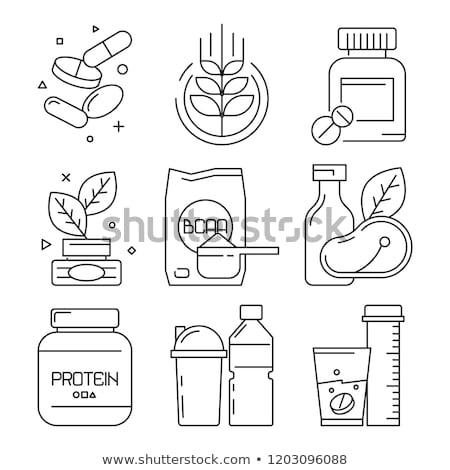 Peixe nutrientes ícone vetor fino Foto stock © pikepicture
