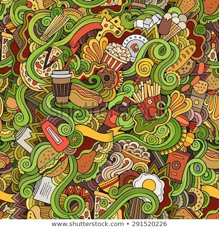 Végtelenített firkák absztrakt gyorsételek minta rajz Stock fotó © balabolka