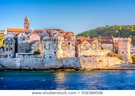 Historic town of Korcula island waterfront view Stock photo © xbrchx