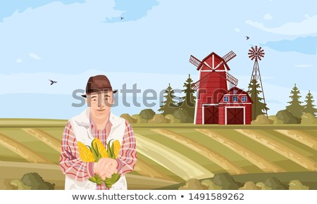 Old Farmer Vector flat style. Organic agriculture template layouts Stock photo © frimufilms
