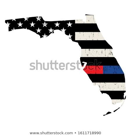 Florida policji strażak wsparcia banderą amerykańską flagę Zdjęcia stock © enterlinedesign