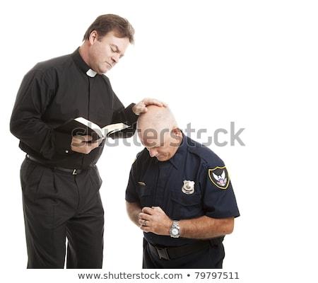 heróis · isolado · policial · bombeiro · branco - foto stock © lisafx