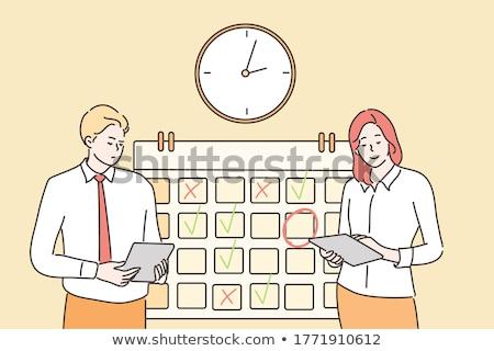 Emberek óra naptár időbeosztás szervezett munka Stock fotó © robuart