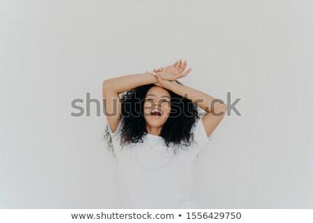 Genç bayan her ikisi de eller alın Stok fotoğraf © vkstudio