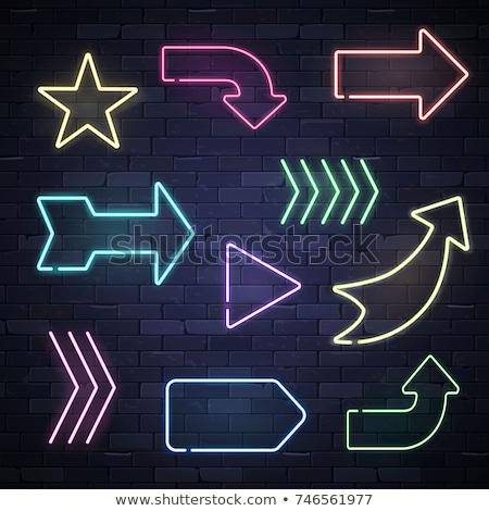 Nyíl neon irányítás promóció terv felirat Stock fotó © Anna_leni
