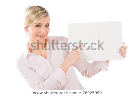 gülen · işkadını · işaret · levha · kâğıt · beyaz - stok fotoğraf © candyboxphoto