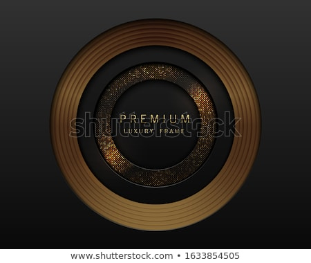 Vector black and gold abstract round luxury frame. Radial golden pattern, sparkling sequins on black Stock photo © Iaroslava