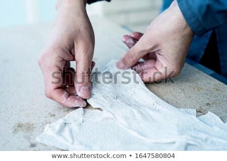 男 作業 ファブリック ぬれた 石膏 クローズアップ ストックフォト © nito