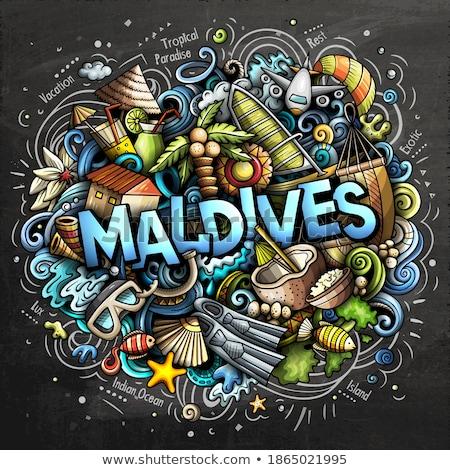 Maldiven cartoon illustratie grappig Stockfoto © balabolka