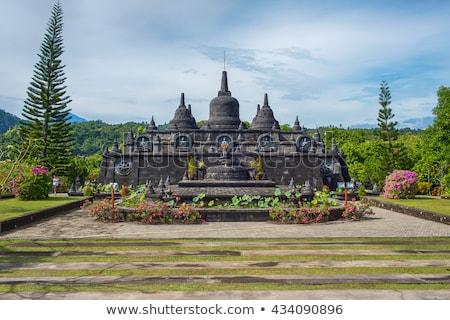 Templom Bali felhők tájkép kék építészet Stock fotó © galitskaya
