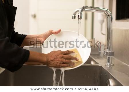 Vuile gerechten wassen water huis voedsel Stockfoto © papa1266