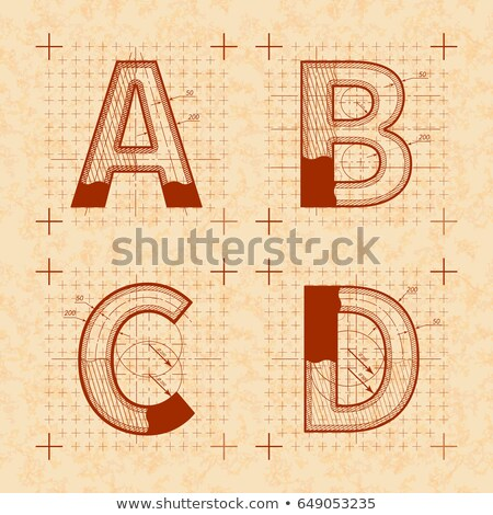 Medieval inventor sketches of A B C D letters. Retro font on old yellow textured paper Stock photo © evgeny89