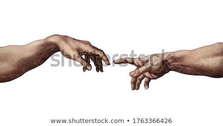 Kettő kezek teremtés terv felirat sziluett Stock fotó © FoxysGraphic