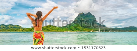 Mutlu tahiti turist seyahat kadın Stok fotoğraf © Maridav