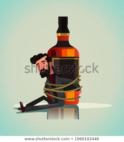 Alkoholizm wektora metafora pijany depresji człowiek Zdjęcia stock © RAStudio
