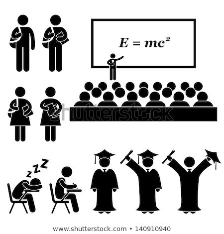 Graduation students icons  Stock photo © Nobilior