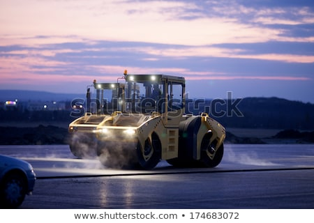 Trucks, rollers and machinery for asphalting Stock photo © deyangeorgiev