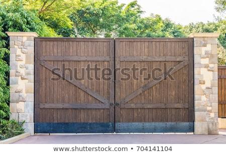öreg fából készült kapu fa rozsda acél Stock fotó © visdia