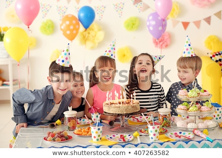 Party fun balloons and birthday present at home stock photo © darrinhenry