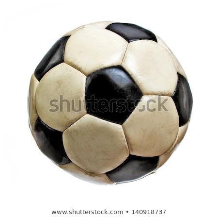 Oude leder voetbal geïsoleerd witte voetbal Stockfoto © Raduntsev