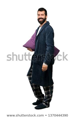 smiling caucasian hispanic man arms crossed isolated white backg stock photo © qingwa