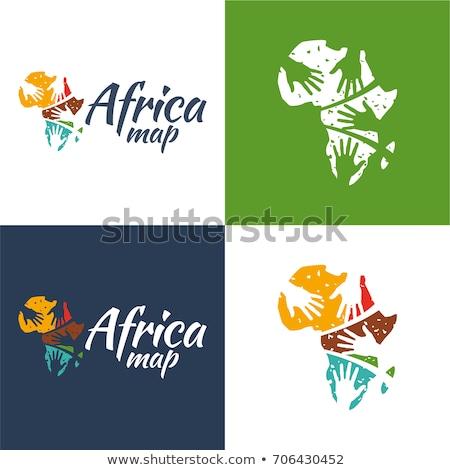 África mapa símbolo sida ícones silhueta Foto stock © cienpies