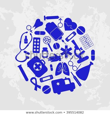 hiv icon set pattern background stock photo © cienpies