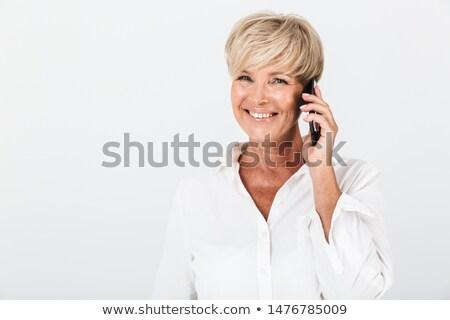 Uśmiechnięta kobieta krótki blond włosy kobieta szczęśliwy Zdjęcia stock © photography33