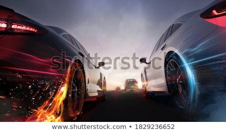 Száguld sportautó gyors ezüst lefelé út Stock fotó © ArenaCreative