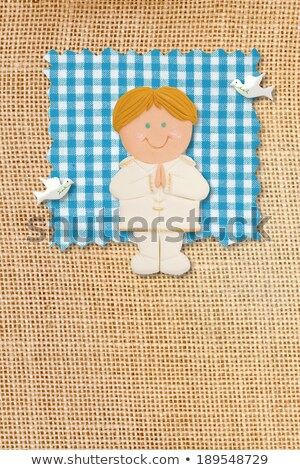 first holy communion invitation card rustic style funny blonde boy stock photo © marimorena