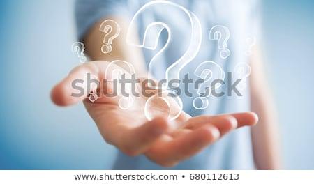 vraagtekens · man · tonen · onzeker · vraag - stockfoto © silent47