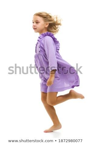 Csinos lány ruházat szél vektor virág Stock fotó © yura_fx