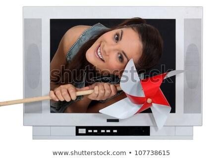 Kadın dışarı tv öğütücü ahşap saç Stok fotoğraf © photography33