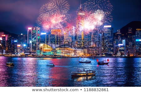 Hong · Kong · haven · nacht · pont · star · reflectie - stockfoto © kawing921