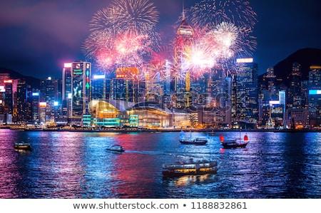 Stockfoto: Vuurwerk · Hong · Kong · 24 · nieuwjaar · haven