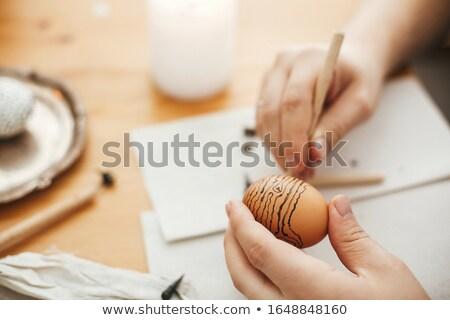 Paskalya el boyama siyah yumurta çift Stok fotoğraf © saje