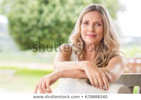 mulher · bonita · amarelo · campo · bastante · morena - foto stock © smithore
