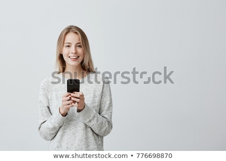 若い女性 良いニュース セル 女性 手 顔 ストックフォト © photography33